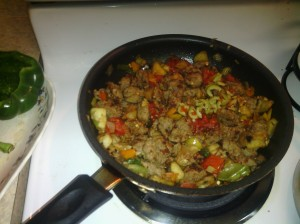 STUFFING (INCLUDING ITALIAN SAUSAGE, PEPPERS) FOR PEPPERS