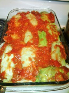Stuffed cabbage leaves awaiting hot oven