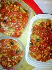 Stuffed cabbage in tupperware for storage in freezer