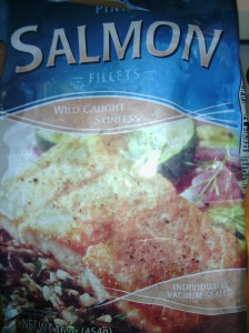 Packet with frozen wild salmon