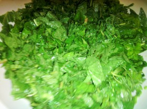 Chopped Jamaican spinach (Callaloo)