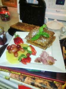 Completed sweet potato/apple waffles/ham along with fresh fruits