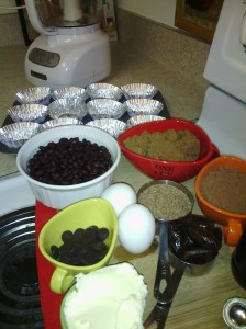 Ingredients/apparatus for baking chocolate black bean cupcakes