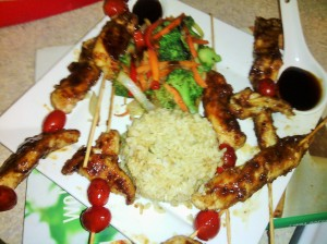 Skewered chicken &tomatoes with hoisin sauce with steamed asparagus/brown rice and stir-fried veggies