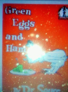 Pic of Dr. Seuss's  book Green Eggs and Ham