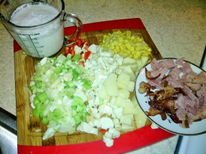 The main ingredients for Ham Chowder