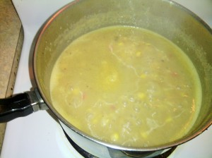 Ham Chowder simmering in stock pot