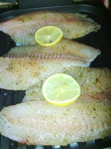 Seasoned Tilapia fillets on George Foreman Grill