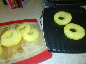 Pineapple slices ready for grilling