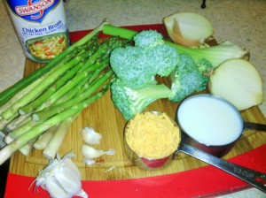 INGREDIENTS FOR ASPARAGUS/BROCCOLI SOUP