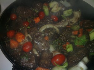 STEWED BEEF/VEGGIES ALONG WITH RED WINE READY TO BE BRAISED