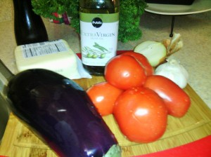 MAIN INGREDIENTS FOR EGGPLANT PARMESAN