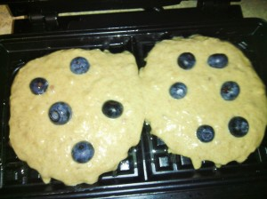WAFFLE BATTER WITH BLUEBERRIES READY TO BE COOKED