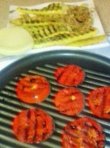 GRILLED TOMATO SLICES AND YELLOW SQUASH,SAUTEED ONIONS AND PROVOLONE CHEESE FOR FILLING IN OMELET