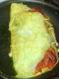OOZING/OVERSTUFFED OMELET