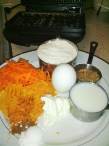 MAIN INGREDIENTS FOR CARROT/SWEET POTATO WAFFLES
