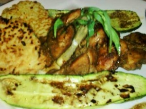 TARRAGON/LEMON CHICKEN SERVED WITH ROASTED BABY ZUCCHINI/RICE CAKES