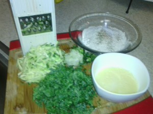 MAIN INGREDIENTS AND APPARATUS FOR ZUCCHINI/KALE FRITTERS