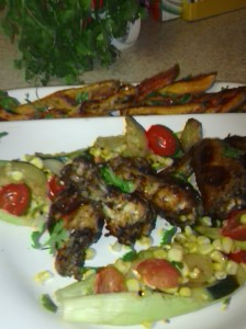 SUCCOTASH ON HUSKS WITH ROASTED JERK CHICKEN WINGS AND SWEET POTATOES