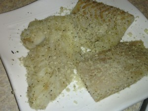SEASONED FLOUNDER WITH PANKO BREAD CRUMBS