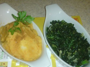 SIDE DISHES OF MASHED SWEET/RED POTATOES AND GARLIC KALE
