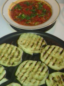 EGGPLANT ON GRILL ALONG WITH MARINARA SAUCE ON SIDE