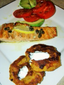 GRILLED SALMON AND SWEET POTATO PATTIES