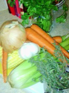 SOME OF THE VEGETABLE INGREDIENTS FOR CHICKEN BACK SOUP