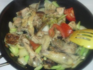 LEFT-OVER PIECES OF CHICKEN THIGH/WING ALONG WITH ONION, CELERY AND TOMATO