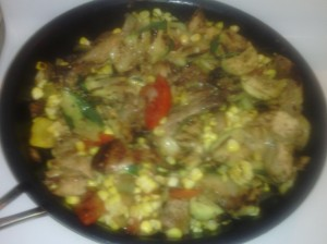 COMBINED DISH OF STIR-FRY JERK CHICKEN THIGH/WING ALONG WITH GRILLED VEGGIES