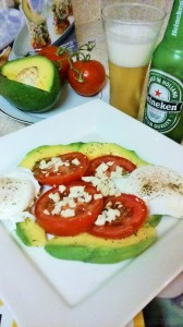 AVOCADO/TOMATO SALAD WITH CRUMBLED PEPPER JACK CHEESE WITH JALAPENO