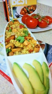 ROASTED SWEET POTATOES/CORN ON THE COB SALAD WITH AVOCADO (NATURE'S BUTTER) ON THE SIDE