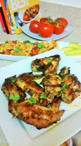 JERK CHICKEN WINGS ALONG WITH ROASTED SWEET POTATOES/CORN SALAD AND AVOCADO