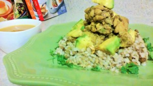 LEFT-OVER CURRIED CHICKEN/AVOCADO ON A BED OF PIGEON PEAS AND RICE WITH PUMPKIN/CARROT SOUP ON THE SIDE