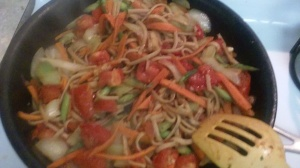 STIR-FRY VEGGIES ALONG WITH PASTA