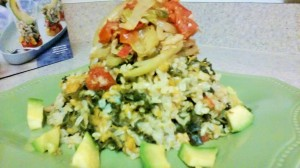 PICKLED CODFISH ON A BED OF COCONUT RICE WITH KALE AND PUMPKIN