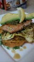 GRILLED WILD SALMON AND SUMMER SQUASH WITH ROASTED SWEET POTATOES/AVOCADO (LEMON BUTTER/LEMON SAUCE WITH CAPERS)