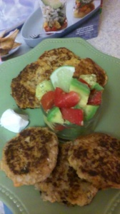 SALMON (CANNED) AND SWEET POTATO CAKES WITH SIDES OF AVOCADO AND TOMATOES