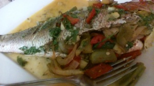 FINISHED DISH (OVEN-ROASTED WHOLE SNAPPER) STUFFED WITH ASSORTED VEGGIES