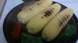 CORNS, AND BELL PEPPERS ON GRILL