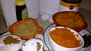SOME OF THE MAIN INGREDIENTS FOR PUMPKIN/CARROT LOAF