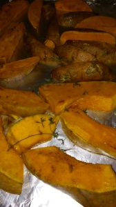 PUMPKIN AND SWEET POTATOES READY FOR ROASTING