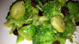 SAUTEED BROCCOLI AND BRUSSELS SPROUT WITH DRIED CRANBERRIES