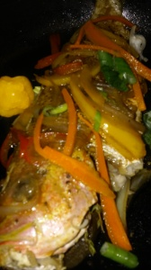 PAN-SEARED SNAPPER WITH SWEET/SOUR VEGGIES AND SAUCE