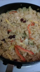 JASMINE RICE/CABBAGE WITH A HINT OF CURRY POWDER AND DRIED CRANBERRIES