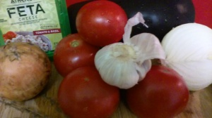 MAIN INGREDIENTS FOR EGGPLANT WITH FETA CHEESE