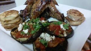 EGGPLANT/FETA CHEESE ALONG WITH ROASTED JERK WINGS AND SWEET POTATOES
