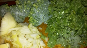 BROCCOLI, KALE AND OTHER INGREDIENTS FOR SOUP