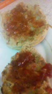ENGLISH MUFFIN WITH STRAWBERRY SPREAD