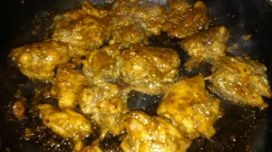 CHICKEN THIGHS BROWNING IN SKILLET